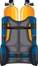 Oxygen tank and safety jacket illustration