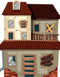 Old house with red roof illustration